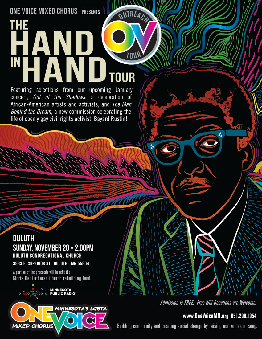 Hand in HAND Tour:  Poster with black bacground and flourscent colors depicting Bayard Rustin, an AFrican-American man with suit and tie and glasses